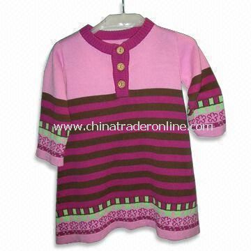 Childrens Knitted Sweater with Half Sleeves, Made of 100% Cotton from China