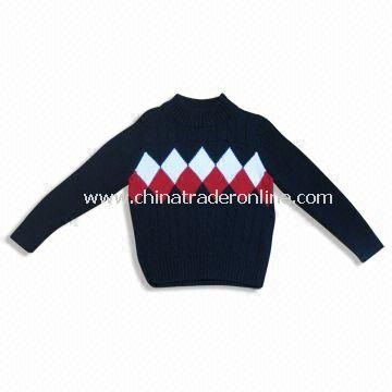 Childrens Sweater with Cables and Jacquard, Knitted, Made of 100% Cotton