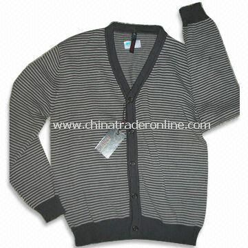 Knitted Cardigan, Made of 100% Cotton, Available in Black and White, Suitable for Men