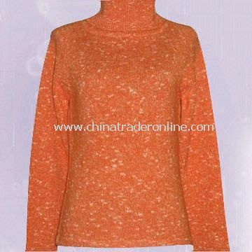 Ladies Sweater Made of 55% Cotton and 45% Acrylic