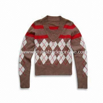 Ladies Sweater, Made of 55% Arcylic and 45% Cotton, Customized Designs are Accepted