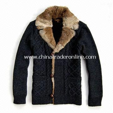 Mens Chunky Cardigan, Made of 80% Lambswool, 20% Nylon and 100% Cotton Lining
