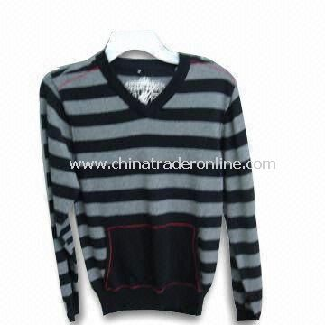 Mens Fashionable Stripe Sweater with Cotton, Long Sleeve, Pockets, V-neck