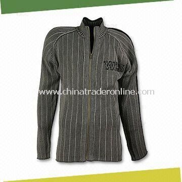 Mens Sweater, Made of 100% Cotton, Available with Slide Fastener