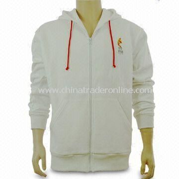 Mens Sweater with Full Zip at Front, Made of 80% Cotton and 20% Polyester Material