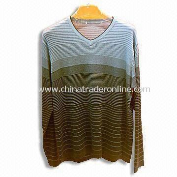 Mens V-neck Stripe Pullover, Made of 30% Cotton and 70% Silk