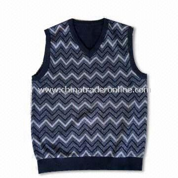 Mens V-neck Vest with Jacquard, Made of 80% Cotton and 20% Polyester, 12gg Gauge