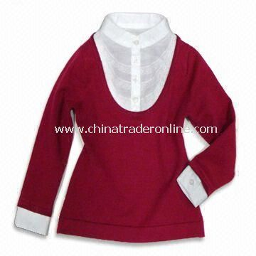 Sweater with Woven Shirt, Made of 100% Cotton, Suitable for Girls