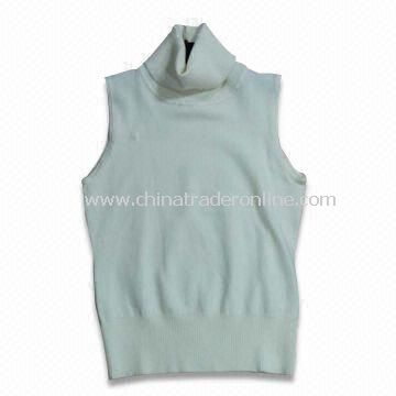 Womens 100% Cotton Knitted Sweater Vest, Available in White