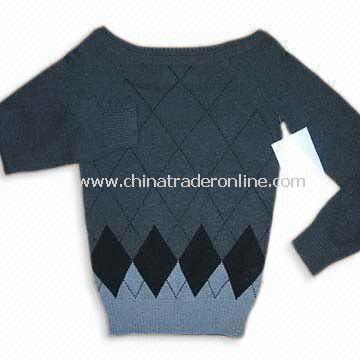 Womens Knitted Sweater with 12gg Gauge and Diamond Argyle, Made of 100% Cotton