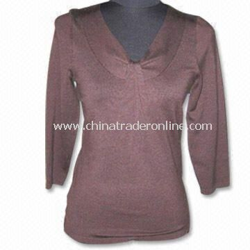 Womens Knitwear, Ladies Knitted Sweater, Made of 63% Silk, 18% Nylon, 6% Cotton, 3% Lycra