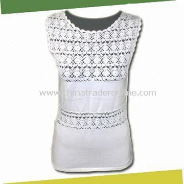 Womens Sweater Tank Top, Made of 100% Cotton, Available in White