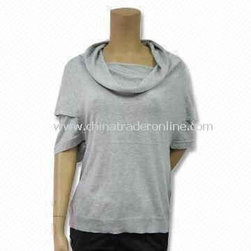 Womens Sweater with 1/2 Long-sleeve and Double Layers, Made of 55% Silk and 45% Cotton