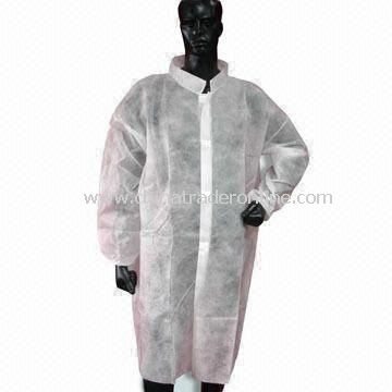 Disposable Nonwoven PP Lab Coat with Velcro and Knitted Colar