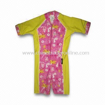 Childrens Coverall Swimwear with Contrast Piping on Armhole/Silver Print Logos, Made of Polyster