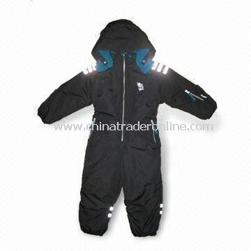 Childrens Seam Taped Skiwear/Coverall, Reverse Zippers and Velcro Cuffs, Detachable Hood