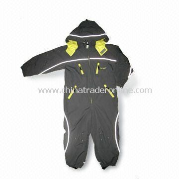 Childrens Seam Taped Skiwear/Coverall with Detachable Hood, Reverse Zippers and Velcro Cuffs
