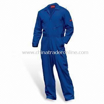Flame-retardant Coverall with Concealed Zippers on Swing Pockets and Two-way Front Zipper