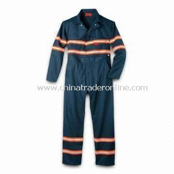 Flame-retardant Coverall with Two Left Back Pockets and Two-way Front Zpper