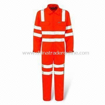 High Visibility Coverall with Zip Fastening Front, Made of 80% Polyester