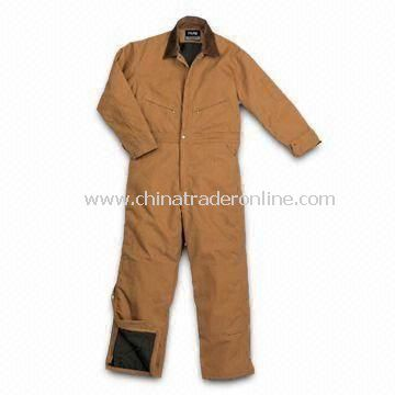 Mens Insulated Coverall with Pleated Elbows for Ease of Motion and Adjustable Tabs at Back Waist