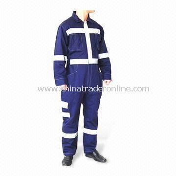Reflective Coverall with Zip Fastening Front, Made of 80% Polyester