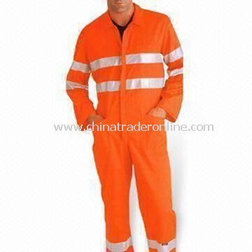 Reflective Coveralls with Two Side Pockets, Made of 60% Polyester and 40% Cotton