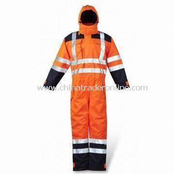 Waterproof High Visibility Padded Coverall, Available with Velcro Adjustable Cuffs from China