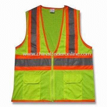 Mesh Reflective Safety Vest, Made of Knitted or Woven Fabric with Reflective PVC Tape