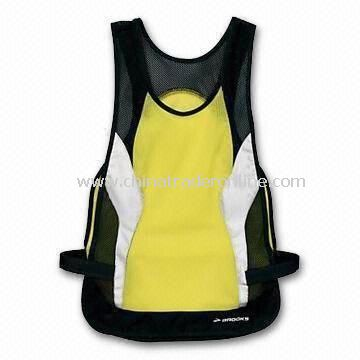 Reflective Safety Vest, Available in Yellow with Black Binding, Made of Knitted or Woven Fabric