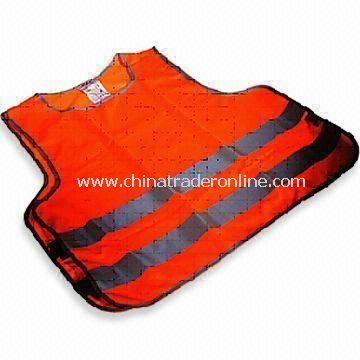 Reflective Safety Vest, Made of 100% Polyester, CE-certified