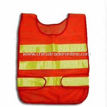Reflective/Safety Vest, Made of Polyester Tricot, Various Colors and Sizes are Available