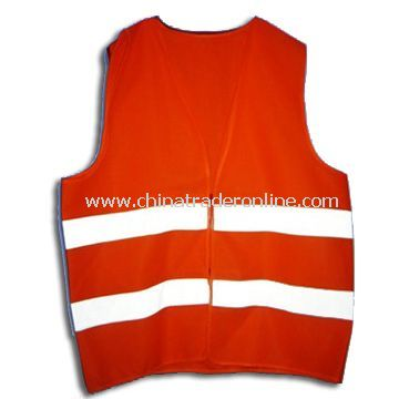 Reflective Safety Vest, Made of Polyester Tricot, Various Colors are Available