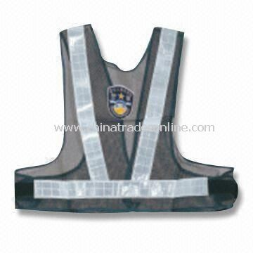 Reflective Safety Vest for Police, Available in Black, Measures 680 x 380 x 495mm