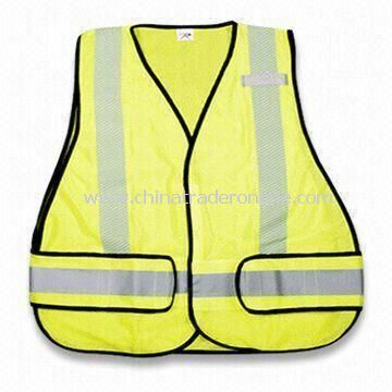 Reflective Safety Vest with Black Binding, Made of Woven Fabric, Also Available in Yellow