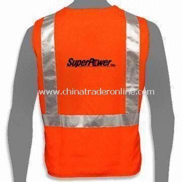 Reflective Safety Vest with Two Horizontal Bands, Available in Various Sizes, Made of Polyester