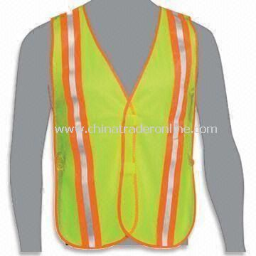 Reflective Safety Vest with Two Horizontal Bands, Customized Colors are Accepted, Made of Polyester