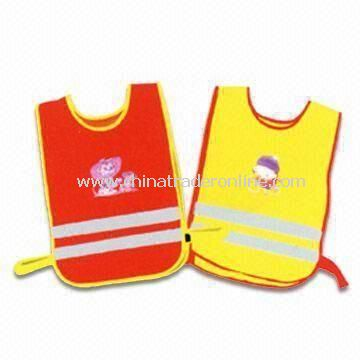 Reflective Safety Vests, Available in Yellow and Red, Made of Knitted or Woven Fabric from China