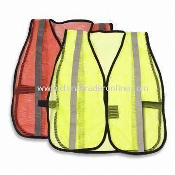 Reflective Safety Vests with Two Horizontal Bands and Velcro Front Fastening