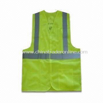 Reflective Vest for Safety, Also Available in Yellow/Orange, Made of Knitted or Woven Fabric