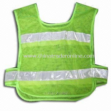 Safety Vest with Velcro, Available in Various Sizes, Made of Polyester
