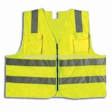 Safety Vest with Velcro Fastener, Available in Fluorescent Yellow, Green and Orange