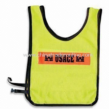 Safety Vest with Velcro Front Fastening and One Vertical Band