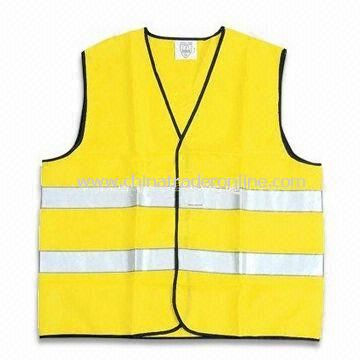 Safety Vest with Zipper, Available in Fluorescent Yellow, Made of Polyester Tricot