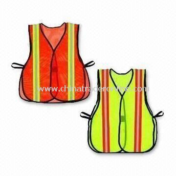 Safety Vests with Reflective Tape, Also Available in Yellow/Orange, Made of Knitted or Woven Fabric