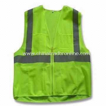 Woven/Knitted Fabric Reflective Safety Vest in S, M, L, XL and XXL Sizes
