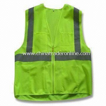 Woven/Knitted Fabric Reflective Safety Vest with Velcro or Zipper Front Closures, EN 471 Certified