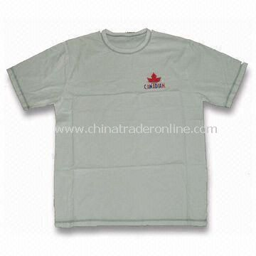 100% Cotton Mens Sports T-shirt with Printed Logos on Front, Customized Designs are Accepted