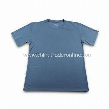 100% Polyester Sports T-shirt, Available with Silk or Transfer Printed Logo