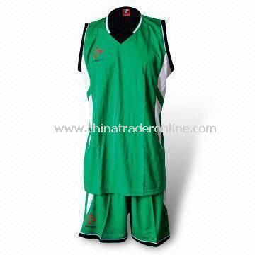 Basketball Jersey Set with T-shirt and Short, Made of 100% Polyester and 140 gsm Mesh